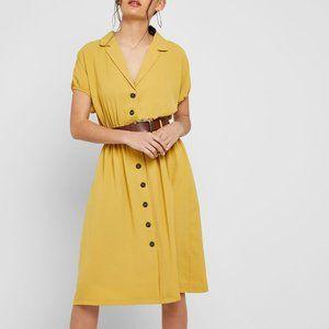 Lumiere Front Button Belt Mustard Yellow Dress